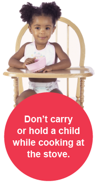 A child sits in a highchair.