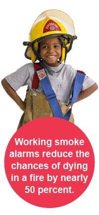 Working smoke alarms reduce the chances of dying in a fire by nearly 50 percent.