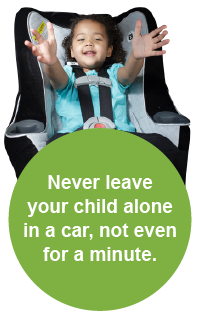 Image of child in car seat with the warning to never leave your child alone in a car