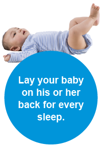 Baby lying on his back – the safest way to put a baby down to sleep - in a onesie.