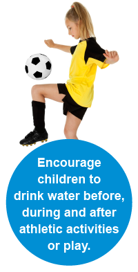 Encourage children to drink water before, during and after athletic activities or play.